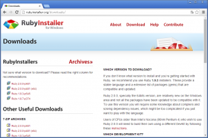 RubyInstaller のダウンロードページ